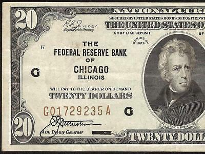 1929 $20 Dollar Bill Brown Seal Bank Note Paper Money National Currency Crisp Vf