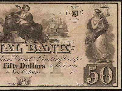 UNC 1800s $50 DOLLAR NEW ORLEANS CANAL BANK NOTE LARGE CURRENCY OLD PAPER MONEY