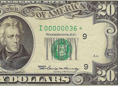 1969 $20 DOLLAR LOW SERIAL NUMBER 36 STAR FEDERAL RESERVE NOTE Fr 2067-I* PCGS