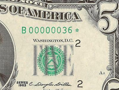 STAR 1963 $5 DOLLAR LOW SERIAL NUMBER 36 FEDERAL RESERVE NOTE Fr 1967-B* UNC