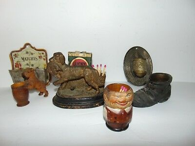 Vintage & Antique Match Holder Lot - Hand Carved & Metal Match Holders