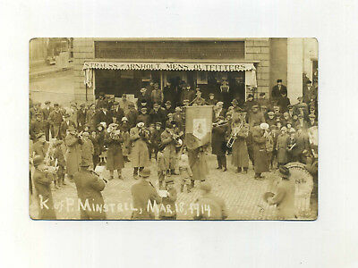 Antique Real Photo Postcard Loudonville OH Knight of Pythias Minstrel Band 1914