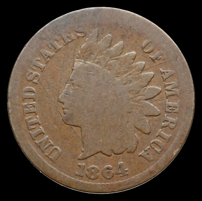 Indian Head Small Cent, 1864-L, Fine details, Key date