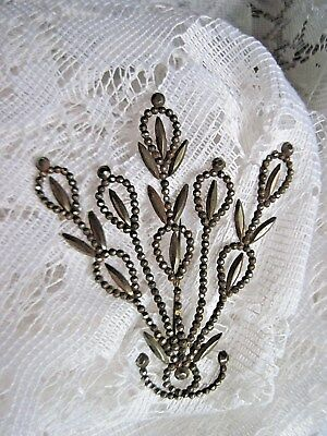 Exquisite Vintage Victorian Antique Large Cut Steel Floral Pin/Brooch
