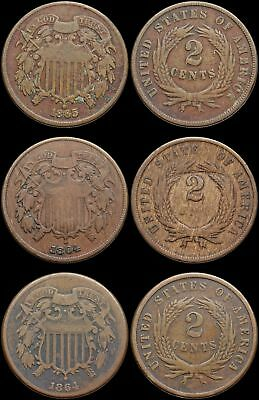 Two Cent Piece 2c, 1864, 1865, Lot of 3, nice coins