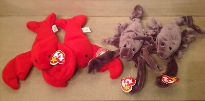 Ty Beanie Babies 2 1993 Lobster Pinchers 4026 (2) Scorpion 1997 Stinger