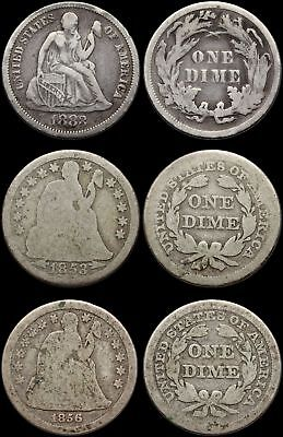 Liberty Seated Dime, 1853 (Arrows), 1856, 1883, Lot of 3