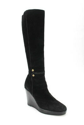 wholesale dealer 314aa 80e8f CHRISTIAN LOUBOUTIN WOMENS Knee High Wedge Heel Boots Black Suede Size 38 8