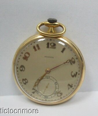 Antique 18K Gold Agassiz Swiss 21 Jewel Art Deco Dial Dress Pocket Watch