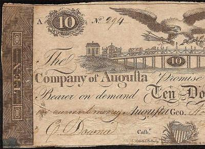 1816 $10 Dollar Bridge Bank Company Augusta Georgia Note Currency Paper Money