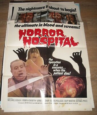 1973 Horror Hospital 1 Sheet Movie Poster Michael Gough Robin Askwith Cool Art