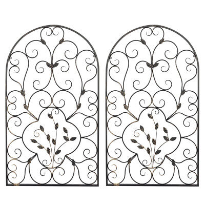 Set 2 Scroll Wall Decor Wrought Iron Metal Grille Panel Tuscan Art