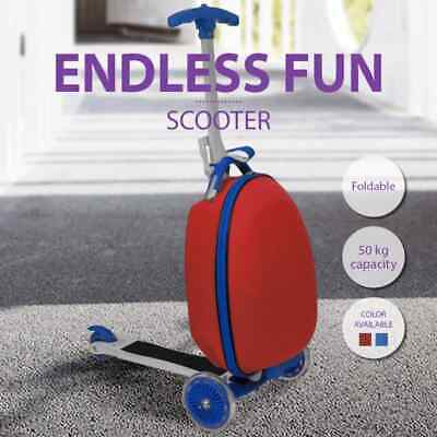 vidaXL Scooter with Trolley Case for Kids Luggage Storage Suitcase Red/Blue