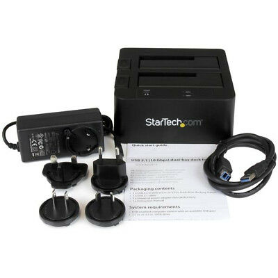 """USB 3.1 (10Gbps) Dual-Bay Dock for 2.5""""/3.5"""" SATA SSD/HDDs StarTech.com"""