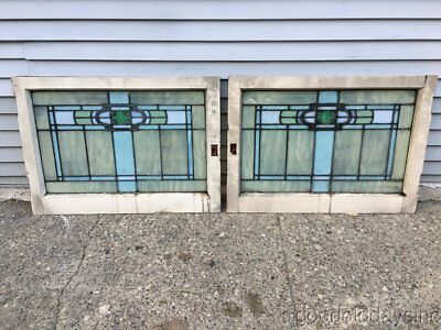 2 Antique Arts & Crafts Stained Leaded Glass Transom Windows Circa 1910