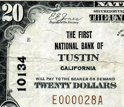 HGR CH#10134 1929 $20 TUSTIN California ((RARE 9 Known)) VF+ GRADE