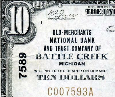 HGR CH#7589 1929 $10 BATTLE CREEK Michigan (WANTED Bank) VF+ GRADE