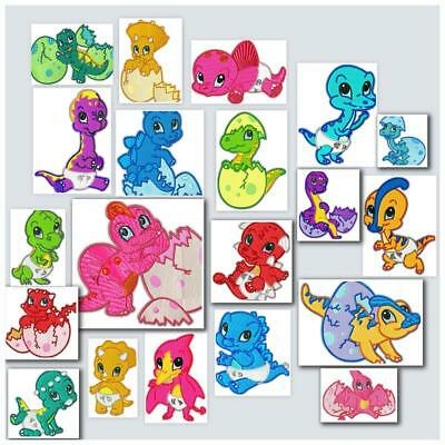 BABY DINO NO 1 and 2  20 MACHINE EMBROIDERY DESIGNS CD 2 SIZES