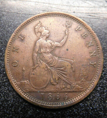 Great Britain , Penny, 1866, Young Victoria, KM# 749.2