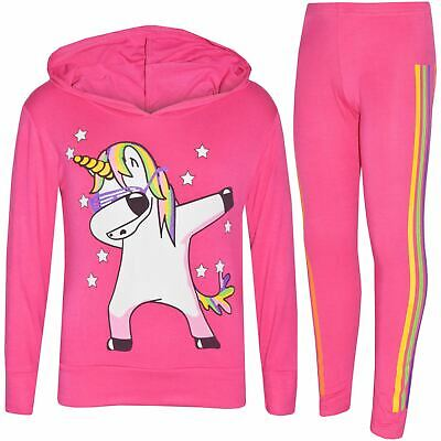 Kids Girls Tracksuit Unicorn Rainbow Dab Floss Pink Top Legging Xmas Set 7-13 Yr