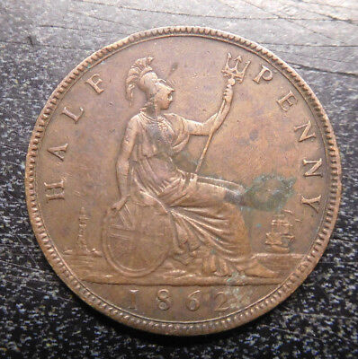 Great Britain ,Half  Penny, 1862, Young Victoria, KM# 748.2