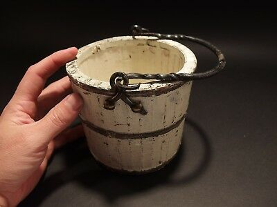 Primitive Antique Style Colonial Wood Berry Bucket Iron Handle old White Paint