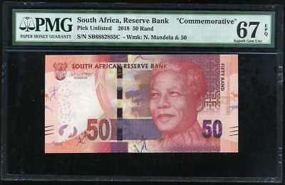 South Africa 50 Rands 2018 Comm. P New Superb Gem Unc Pmg 67 Epq Nr