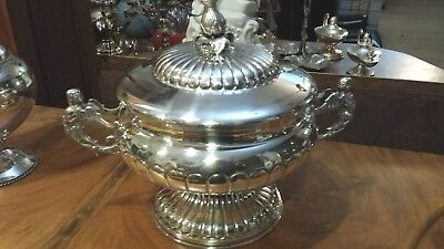 890g COLLECTION SOUP TUREEN ANTROPOMORF&fruitwood CARVING HANDLE STERLING SILVER