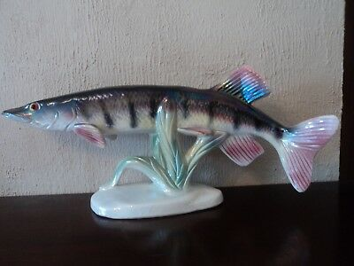 Huge Vintage/retro (Jema-Holland) Hand Painted/crafted Lustre Glaze Pike Fish.