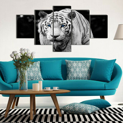 5PCS Animal Tiger Canvas Print Home Decor Wall Art Painting Art Picture Unframed