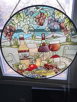 "Large 21"" Stained Glass - ""Wine Bottles"""
