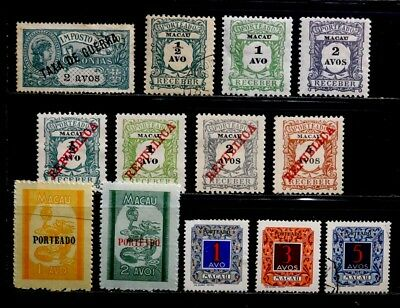 Macau, Portugal: 1904-52 Postage Due, War Tax Stamp Collection