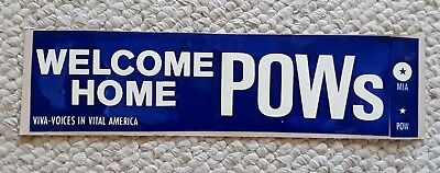 """Vintage Bumper Sticker Decal Military, WELCOME HOME  POWs 11"""" X 3"""""""