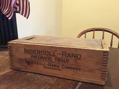 Vintage Ingersoll-Rand Tools Dovetail Wood Box Crate Athens PA