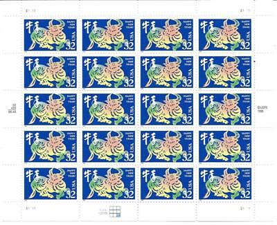 Us Scott 3120 Pane Of 20 Lunar New Year Stamps 32 Cent Face Value  Mnh