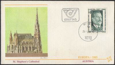 """1983, Austria """"St Stepen's Cathederal"""" illustrated unaddressed Europa CEPT FDC."""