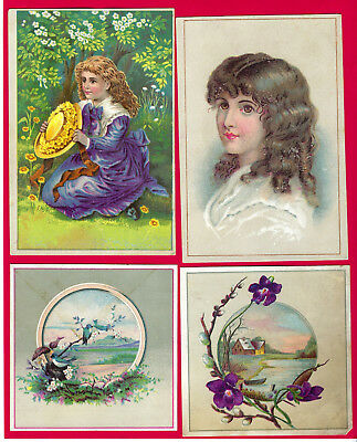 4 advertising Victorian trade cards for Solliday BUCKWHEAT FLOUR, ca 1880, VF