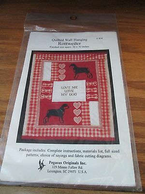 ROTTWEILER QUILTED WALL HANGING Pattern Instructions Pegasus Originals NIP