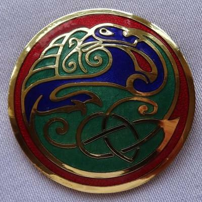 Vintage Cloisonné Enamel CELTIC Bird Brooch by SEA GEMS
