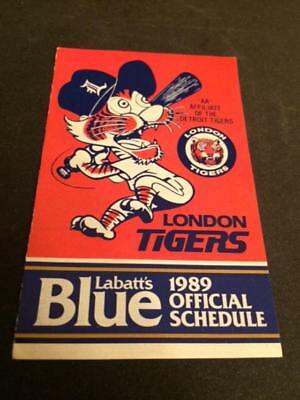 1989 London Tigers 2 Baseball Pocket Schedules LaBatt Version Tigers Farm Team