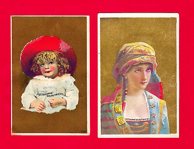 2 Dr. Thomas ECLECTRIC OIL advertising Victorian Trade Card ca 1880, Very Fine