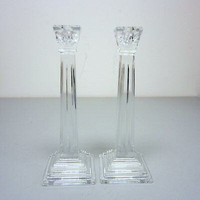 Pair Signed Waterford Crystal Candlesticks George Washington American Heritage