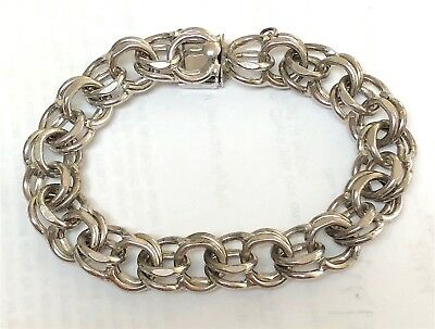 Vintage Sterling Silver Heavy Duty Double Link Charm Bracelet 7 1/2 Inches Long