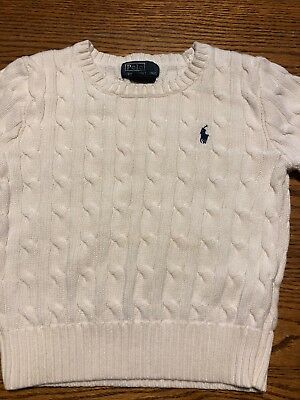 Polo, Ralph Lauren Toddler Boys Size 3T Off White, Ivory Cable Knit Sweater