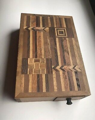 Antique Wood Inlay Hidden Drawer Puzzle Box Provenance Minnewaska New York