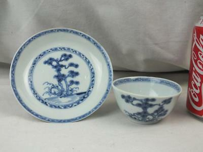 Good 18Th C Chinese Christie's Nanking Cargo Tree Blue White Teabowl Saucer