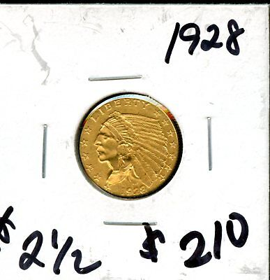 Exquisite 1928 United States Indian Head Eagle ($2 ½) Gold Coin KE206