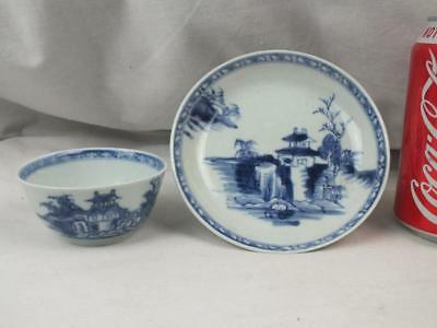 Good 18Th C Chinese Christie's Nanking Cargo Landscape Blue White Teabowl Saucer