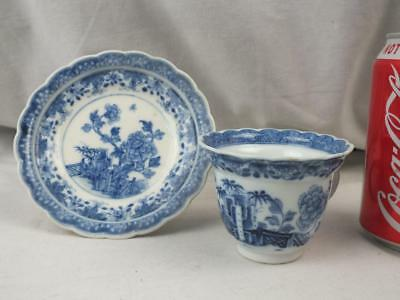 Fine 18Th C Chinese Porcelain Blue White Peony Fence Fluted Flared Cup & Saucer