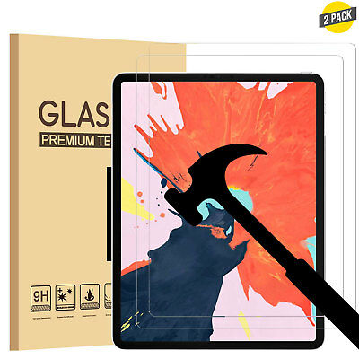 2 Pack Tempered Glass Screen Protector for Apple iPad Pro 12.9 Inch 3rd Gen 2018